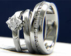 316L Stainless Steel Engagement Wedding Band 1.24 ct Clear Solitaire CZ Ring Set
