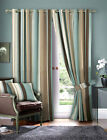 Striped Faux Silk Curtains - Duck Egg Blue & Cream Eyelet Lined Curtain Pair