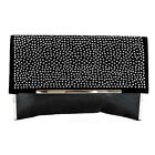 LADIES BLACK FAUX LEATHER ENVELOPE STYLE CLUTCH WITH A ENCRUSTED DIAMANTE FLAP