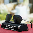 Fashion Aviator Sunglasses Pilot Style Black UV 400 Shades Mens New Metal Frame