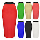 Womens Plus Size Block Colour Stretch Pencil Skirt Black Red Navy White New Size