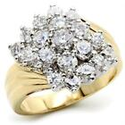 WOMEN'S MULTI ROUND AAA CZ 14K GOLD GP CLUSTER FLOWER COCKTAIL BOLD RAISED RING