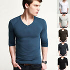 Men's Slim Fit Long Sleeve Causal V-Neck T-Shirt 4Size XS S M L Good Quality HOT