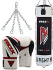 RDX 13 PC Boxing Set 5FT 4FT Filled Heavy Punch Bag Gloves Bracket MMA Stand GW