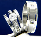 2.04 CT Clear Solitaire CZ Engagement Stainless Steel Wedding Bridal Rings Set