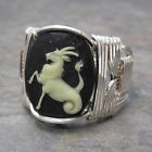 Capricorn Cameo Zodiac Astrology Sign Sterling Silver Wire Wrapped Ring ANY Size