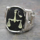 Libra Cameo Zodiac Astrology Sign Sterling Silver Wire Wrapped Ring ANY Size