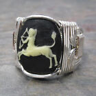 Sagittarius Cameo Zodiac Astrology Sign Sterling Silver Wire Wrap Ring ANY Size