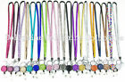 Multi Color Rhinestone ID Badge Tag Key Glass Retractable Reel Neck LANYARD