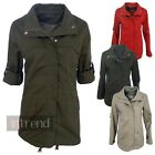 LADIES PARKA JACKET WOMENS MILITARY STYLE COAT TOP ROLL UP SLEEVES SIZE 10-14
