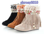 Girls Mid-Calf Boots Women's Sweet Tassels Fringes Flat Shoes AU All Size Y402