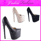 NEW LADIES  STILETTO VERY HIGH HEEL STUDDED PLATFORM  SHOES SIZES UK 3-8
