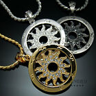 Tondo Sun Flower Pendant Chain Necklaces 18k Gold & Silver Plated Mens Jewelry