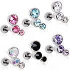 New Surgical Steel Triple Gem Tragus Helix Cartilage Bar Barbell Stud