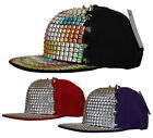 R C Headwear Bling Studded Spike Pyramid Studs Snapback Cap Snap Back Flat Peak