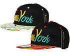 R C NY New York SNAPBACK Rasta Stripe Ganja Leaf Flat Peak Cap Hat Snap Back