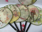 1, 5 or 10 CHINESE GEISHA FINE SILK & WOOD HANDLE ROUND COSTUME DISPLAY FAN UK