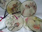 10x CHINESE JAPANESE GEISHA FANCY DRESS FINE SILK & WOOD ROUND DECORATIVE FANS