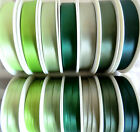 2  MTRS DOUBLE SIDED SATIN RIBBON,7mm x 7 DIFFERENT SHADES PALE TO DARK GREEN