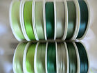 2  MTRS DOUBLE SIDED SATIN RIBBON,15mm x 7 DIFFERENT SHADES PALE TO DARK GREEN