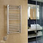 New 400mm Width Electric Chrome Central Heating Towel Rails