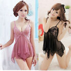 Lace Sexy Women Deep V Nightdress Sleepwear Lingerie Dress Pajamas + G-string