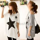 Sz 8-20 Womens Loose Long Tee Shirt Batwing Dolman Sleeve Casual Star Blouse Top