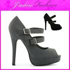 NEW LADIES HIGH HEEL STILETTO PEEP TOE DOUBLE BUCKLE COURT SHOES SIZES UK 3-8
