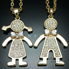 Lovely Little Girl Boy Pendant Necklaces w Swarovski Crystal Gold Silver Jewelry