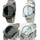 Luxury Mens Black Square Watch Stainless Steel Analog Quartz New Band Casual