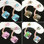 E1-E003 Fashion Cystal Simulated Gemstone Stud Earrings 18K GP