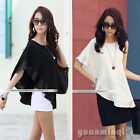 New Women's One Shoulder Crew Neck Casual Elastic Black Blouse Solid Top T-Shirt