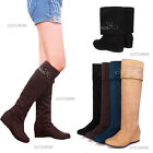 Women's Popular Wedge Mid Heel Boots Over The Knee Foldable Shoes US All Sz Y209