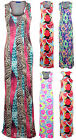Ladies Leopard Snake Floral Splash Print Maxi Bodycon Women's Long Dress 8-14