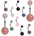 New Surgical Steel Acrylic Glitter Ball Navel Belly Bar Barbell Various Colours