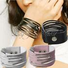 Fashion Black/Pink/White 13 Multi-layer PU Leather Wrist Cuff Bracelet Bangle