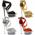 New Ladies Diamante Platform High Stiletto Heel Glitter Sandals Sizes UK 3-8