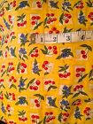 BERRY DELICIOUS CHERRY ON YELLOW SQUARES FABRIC #51221 BY MODA SEW TREASURED