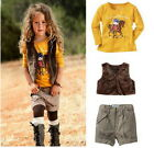 Girls Outfits Set 1-6Y Yellow Top Shirt Short Pants Vest 3Pcs Baby Kids Clothing