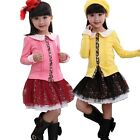 Girls Kids Party Top Shirt Flower Tutu Skirt Dress 2Pcs Outfits Set 3-8Y Clothes