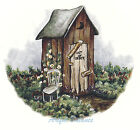 Ceramic Decals OUT OF ORDER Outhouse Out House Scene Rustic image