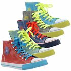 New Ladies Colourful Lace Up Hi Top Baseball Shoes Trainers Flats Sizes UK 3-8