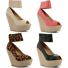 New Ladies Chunky Ankle Cuff High Wedge Heel Rope Peep Toe Shoes Size UK 3-8