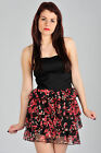 Womens Party Dress Black Mini with Floral Skirt Ladies Brand New 10,12,14,16