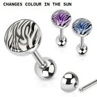 New Surgical Steel Tiger Print Tongue Bar Solar Colour Changing Barbell 1.6mm