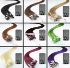 "18""-26"" Microtube Loop Ring Tips Remy Human Hair Extensions multiple Colors 100S"