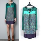 Womens Retro Long Sleeve Floral Print Chiffon Round Neck Tops Casual Dress L M S