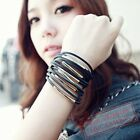 1pc Fashion 13 Multi-layer PU Leather Cuff Bracelet for Lady Girl Gift- 2 colour