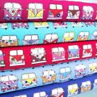 MANY MINI CAMPER VANS - VW'S VAN COTTON POPLIN FABRIC BOYS HIPPY FUNKY 60'S CAR