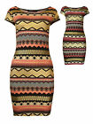 Womens Aztec Foil Print Mini Dress Coral Pink Purple Gold Ladies New Size 8-14